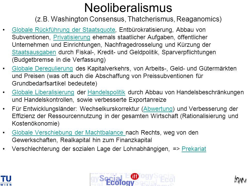 Neoliberalismus (z.B. Washington Consensus, Thatcherismus, Reaganomics) Globale Rückführung der Staatsquote, Entbürokratisierung, Abbau von Subvention