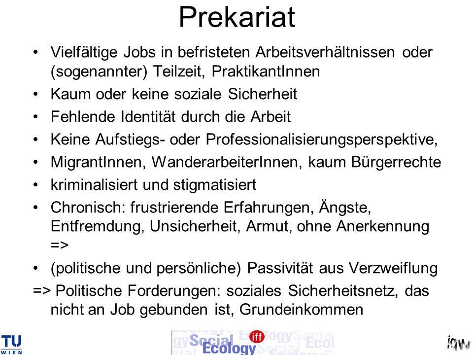 Prekariat Vielfältige Jobs in befristeten Arbeitsverhältnissen oder (sogenannter) Teilzeit, PraktikantInnen Kaum oder keine soziale Sicherheit Fehlend