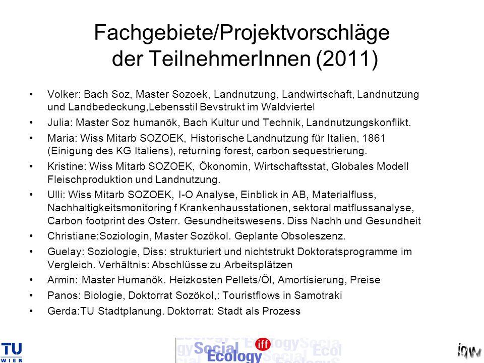 Fachgebiete/Projektvorschläge der TeilnehmerInnen (2011) Volker: Bach Soz, Master Sozoek, Landnutzung, Landwirtschaft, Landnutzung und Landbedeckung,L