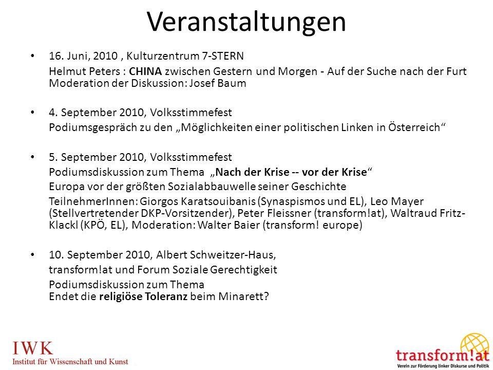 16. Juni, 2010, Kulturzentrum 7-STERN Helmut Peters : CHINA zwischen Gestern und Morgen - Auf der Suche nach der Furt Moderation der Diskussion: Josef
