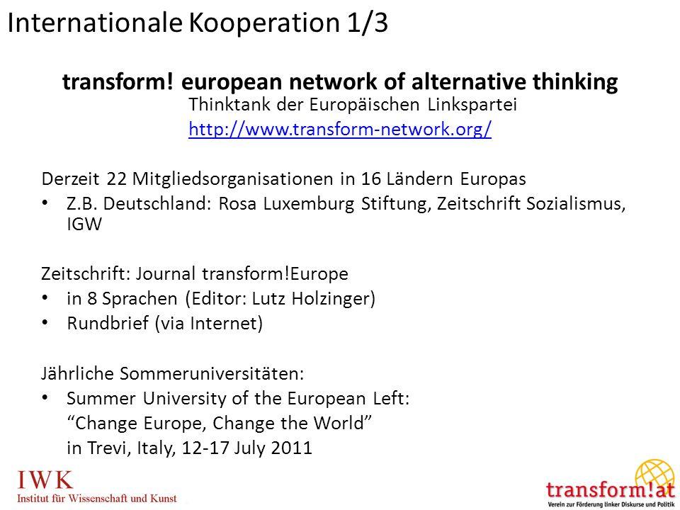 transform! european network of alternative thinking Thinktank der Europäischen Linkspartei http://www.transform-network.org/ Derzeit 22 Mitgliedsorgan