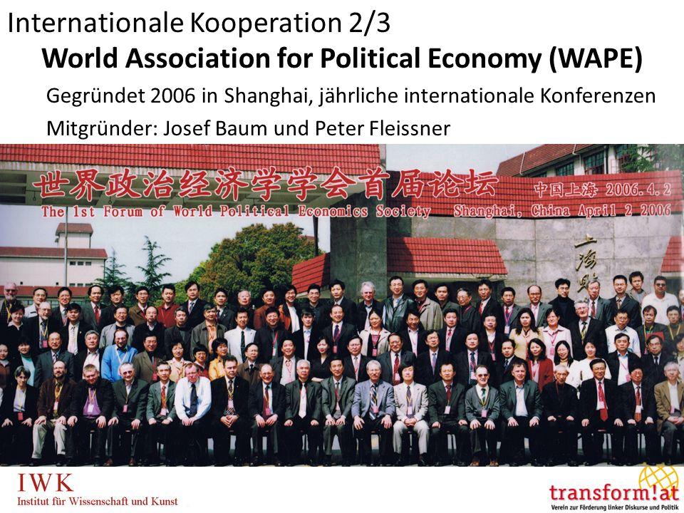 World Association for Political Economy (WAPE) Gegründet 2006 in Shanghai, jährliche internationale Konferenzen Mitgründer: Josef Baum und Peter Fleissner Internationale Kooperation 2/3