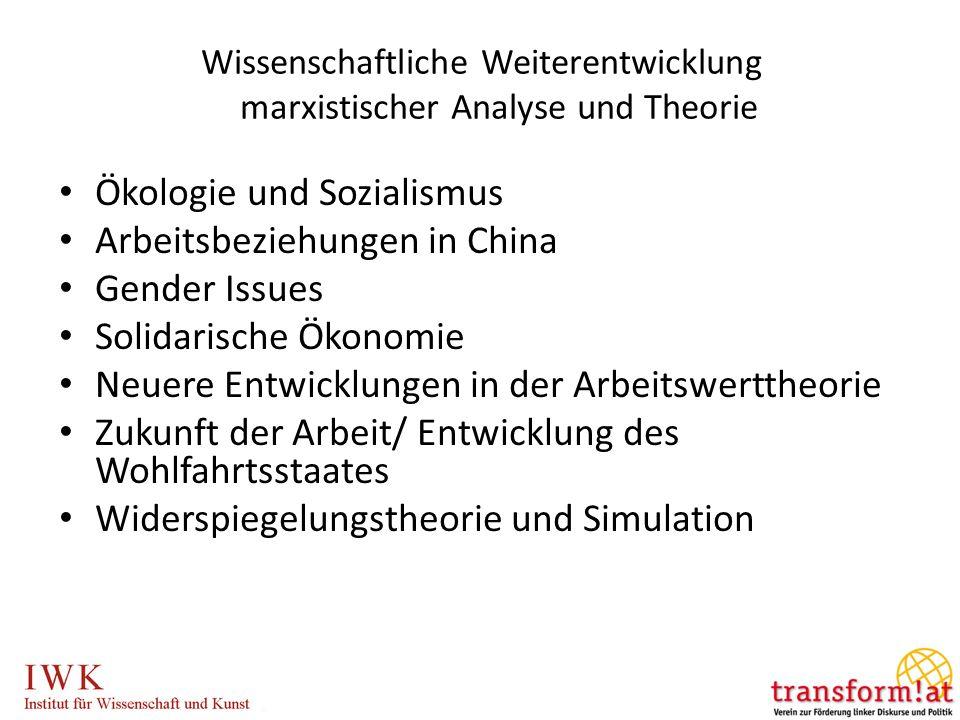 Wissenschaftliche Weiterentwicklung marxistischer Analyse und Theorie Ökologie und Sozialismus Arbeitsbeziehungen in China Gender Issues Solidarische Ökonomie Neuere Entwicklungen in der Arbeitswerttheorie Zukunft der Arbeit/ Entwicklung des Wohlfahrtsstaates Widerspiegelungstheorie und Simulation