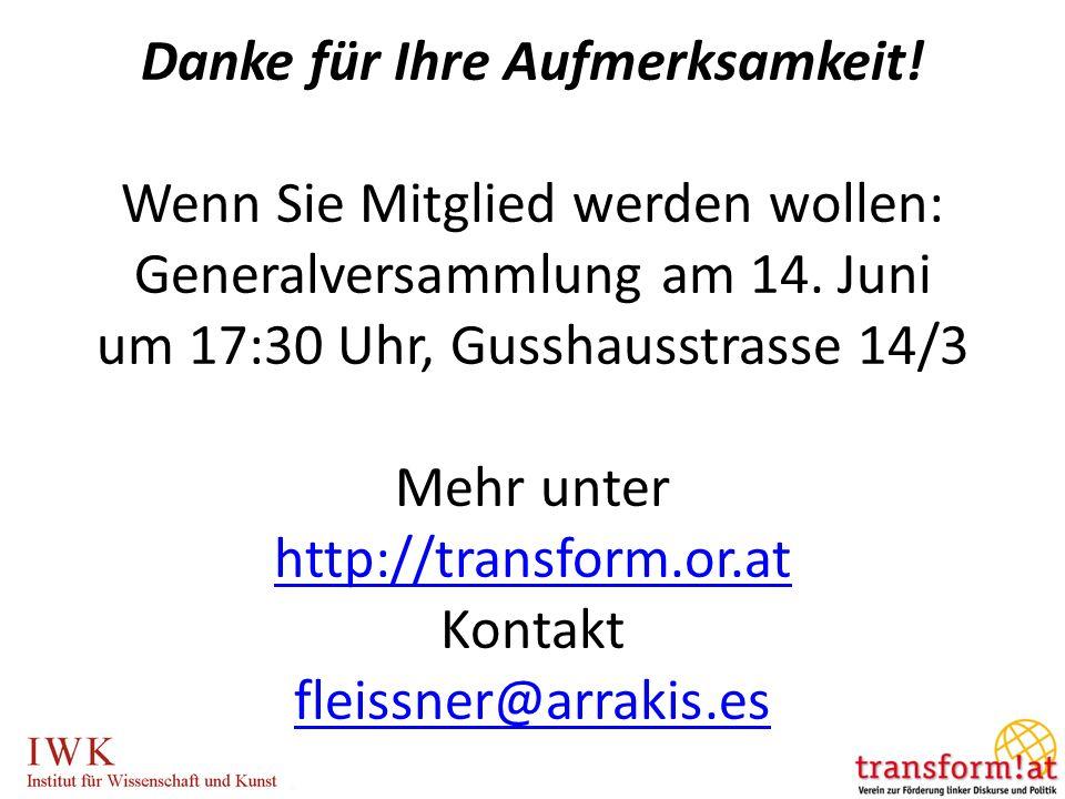 Danke für Ihre Aufmerksamkeit! Wenn Sie Mitglied werden wollen: Generalversammlung am 14. Juni um 17:30 Uhr, Gusshausstrasse 14/3 Mehr unter http://tr