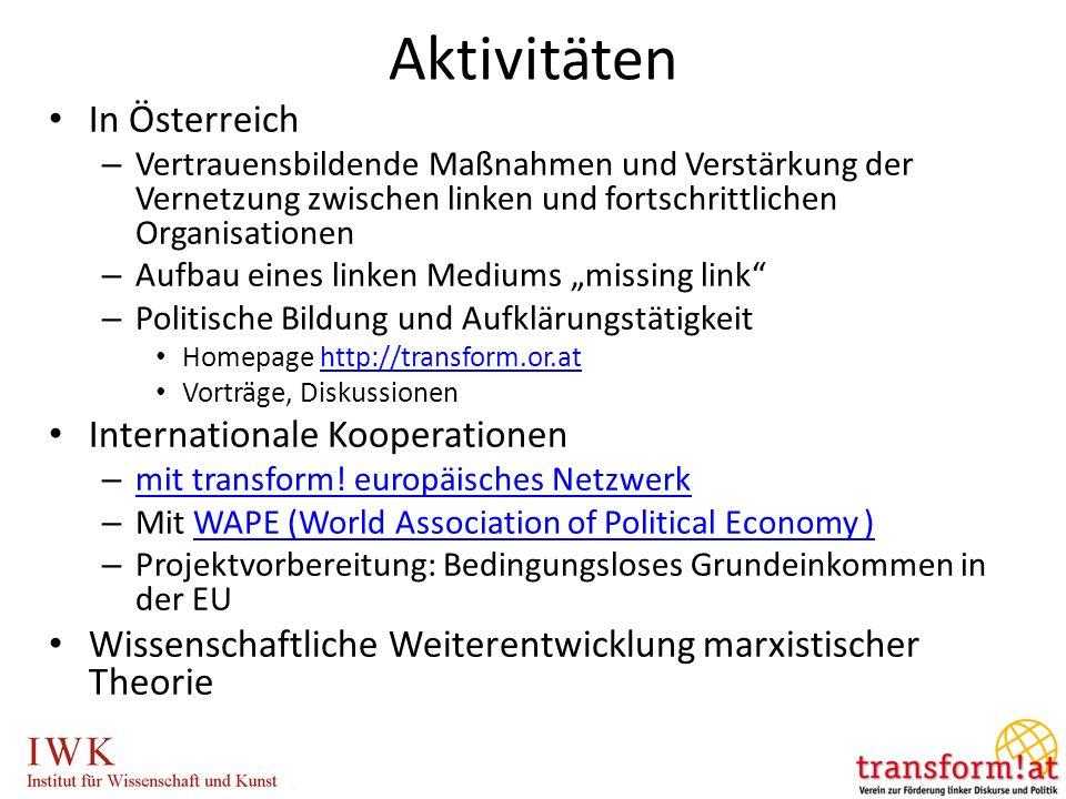 Aktivitäten In Österreich – Vertrauensbildende Maßnahmen und Verstärkung der Vernetzung zwischen linken und fortschrittlichen Organisationen – Aufbau