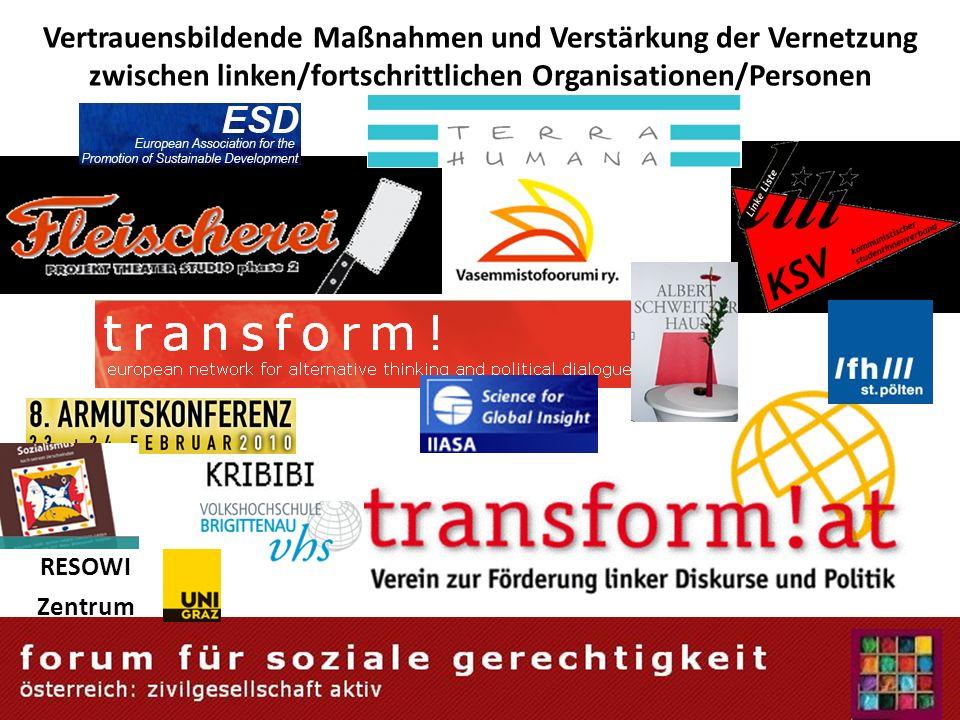 Vertrauensbildende Maßnahmen und Verstärkung der Vernetzung zwischen linken/fortschrittlichen Organisationen/Personen RESOWI Zentrum