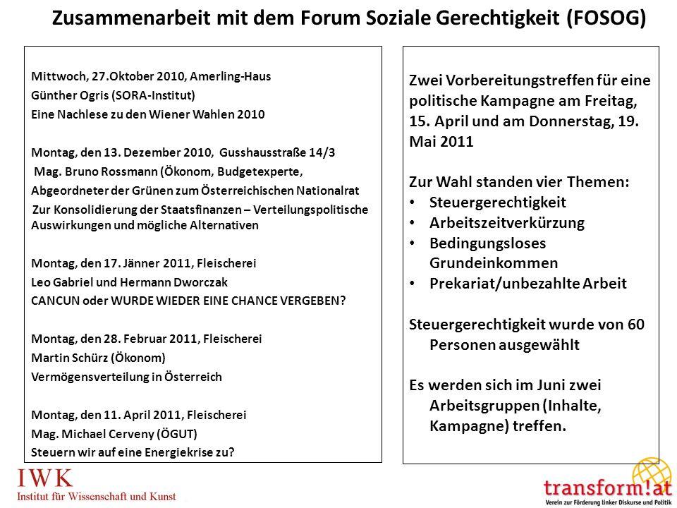 Mittwoch, 27.Oktober 2010, Amerling-Haus Günther Ogris (SORA-Institut) Eine Nachlese zu den Wiener Wahlen 2010 Montag, den 13. Dezember 2010, Gusshaus