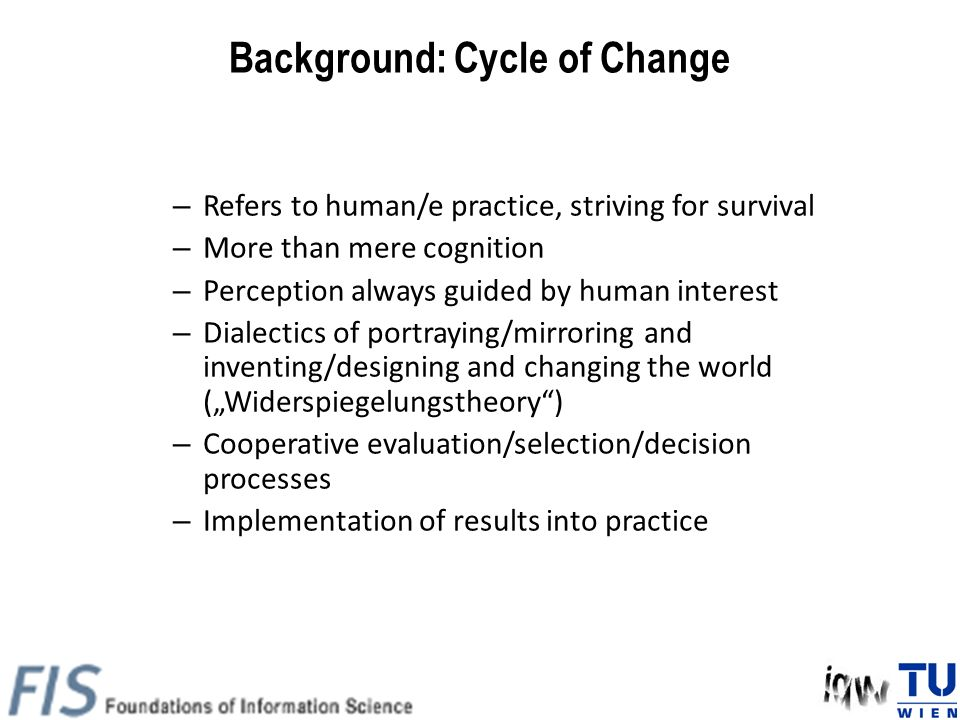 Background: Cycle of Change – Refers to human/e practice, striving for survival – More than mere cognition – Perception always guided by human interes