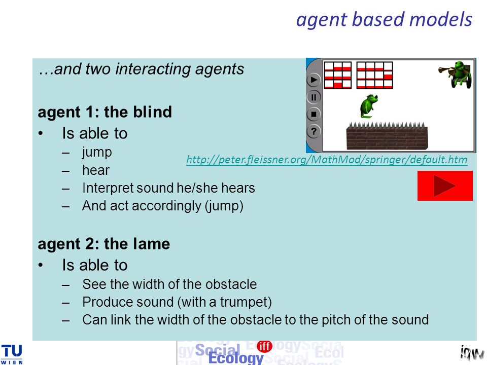 …and two interacting agents agent 1: the blind Is able to –jump –hear –Interpret sound he/she hears –And act accordingly (jump) agent 2: the lame Is able to –See the width of the obstacle –Produce sound (with a trumpet) –Can link the width of the obstacle to the pitch of the sound http://peter.fleissner.org/MathMod/springer/default.htm agent based models
