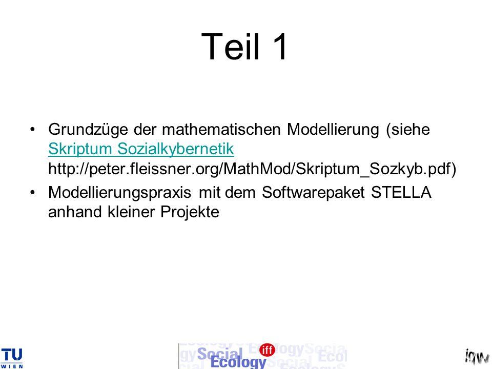 Teil 1 Grundzüge der mathematischen Modellierung (siehe Skriptum Sozialkybernetik http://peter.fleissner.org/MathMod/Skriptum_Sozkyb.pdf) Skriptum Soz