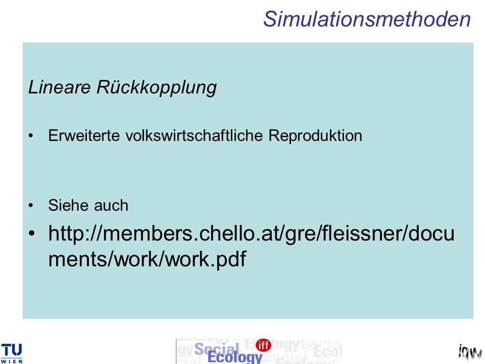 Lineare Rückkopplung Erweiterte volkswirtschaftliche Reproduktion Siehe auch http://members.chello.at/gre/fleissner/docu ments/work/work.pdf Simulatio