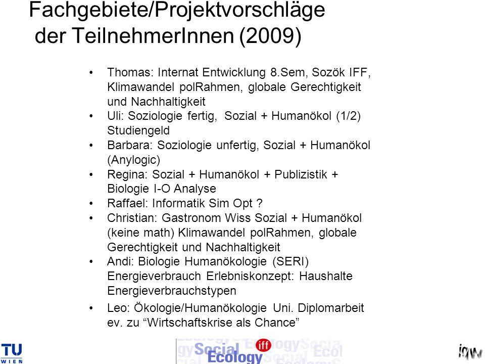 Fachgebiete/Projektvorschläge der TeilnehmerInnen (2009) Thomas: Internat Entwicklung 8.Sem, Sozök IFF, Klimawandel polRahmen, globale Gerechtigkeit u