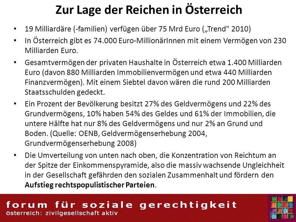 Zur Lage der Reichen in Österreich 19 Milliardäre (-familien) verfügen über 75 Mrd Euro (Trend 2010) In Österreich gibt es 74.000 Euro-MillionärInnen mit einem Vermögen von 230 Milliarden Euro.