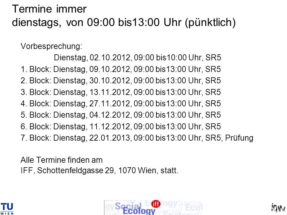 Termine immer dienstags, von 09:00 bis13:00 Uhr (pünktlich) Vorbesprechung: Dienstag, 02.10.2012, 09:00 bis10:00 Uhr, SR5 1.