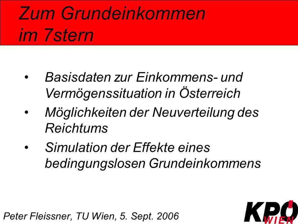Zum Grundeinkommen im 7stern Peter Fleissner, TU Wien, 5. Sept. 2006 Basisdaten zur Einkommens- und Vermögenssituation in Österreich Möglichkeiten der