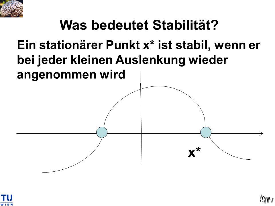 Was bedeutet Stabilität? Ein stationärer Punkt x* ist stabil, wenn er bei jeder kleinen Auslenkung wieder angenommen wird x*