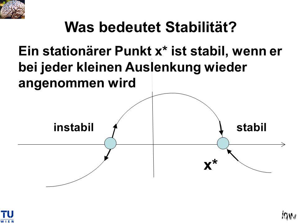 Was bedeutet Stabilität? Ein stationärer Punkt x* ist stabil, wenn er bei jeder kleinen Auslenkung wieder angenommen wird x* stabilinstabil