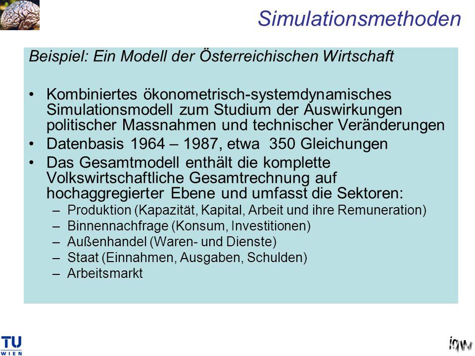 Beispiel: Ein Modell der Österreichischen Wirtschaft Kombiniertes ökonometrisch-systemdynamisches Simulationsmodell zum Studium der Auswirkungen polit