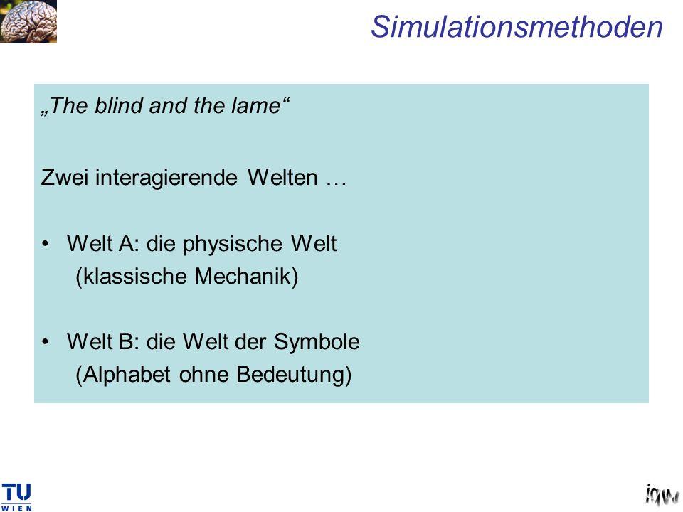 The blind and the lame Zwei interagierende Welten … Welt A: die physische Welt (klassische Mechanik) Welt B: die Welt der Symbole (Alphabet ohne Bedeu