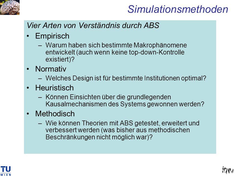 Vier Arten von Verständnis durch ABS Empirisch –Warum haben sich bestimmte Makrophänomene entwickelt (auch wenn keine top-down-Kontrolle existiert)? N