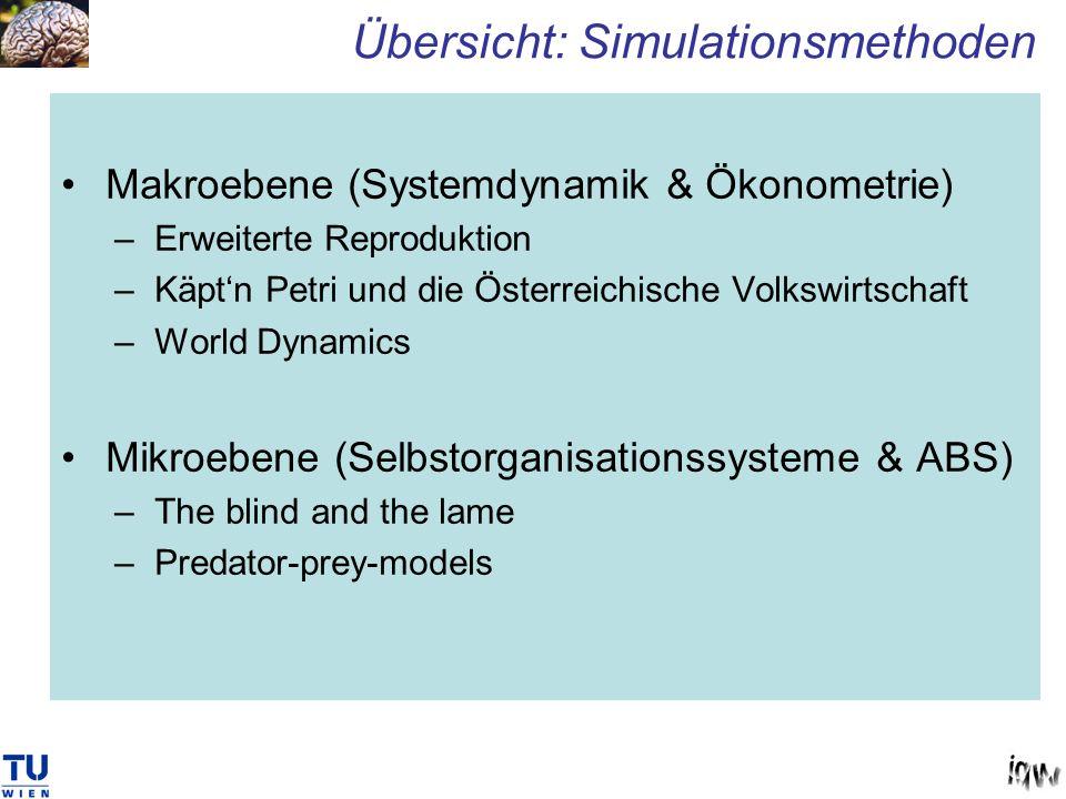 Makroebene (Systemdynamik & Ökonometrie) –Erweiterte Reproduktion –Käptn Petri und die Österreichische Volkswirtschaft –World Dynamics Mikroebene (Sel