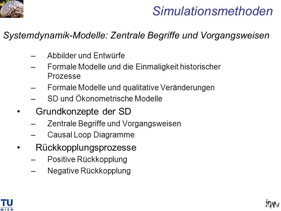 Systemdynamik-Modelle: Zentrale Begriffe und Vorgangsweisen Simulationsmethoden –Abbilder und Entwürfe –Formale Modelle und die Einmaligkeit historisc