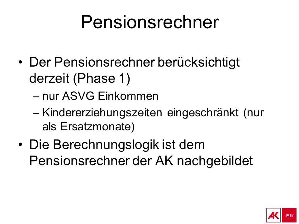 Pensionsrechner Der Pensionsrechner berücksichtigt derzeit (Phase 1) –nur ASVG Einkommen –Kindererziehungszeiten eingeschränkt (nur als Ersatzmonate) Die Berechnungslogik ist dem Pensionsrechner der AK nachgebildet
