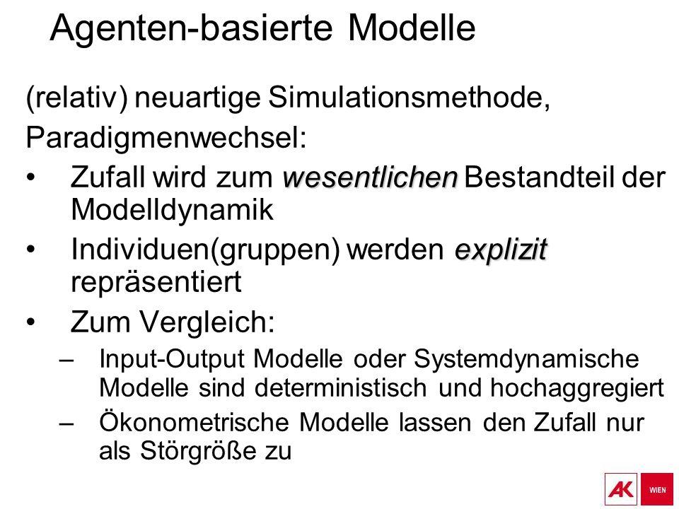 Agenten-basierte Modelle (relativ) neuartige Simulationsmethode, Paradigmenwechsel: wesentlichenZufall wird zum wesentlichen Bestandteil der Modelldynamik explizitIndividuen(gruppen) werden explizit repräsentiert Zum Vergleich: –Input-Output Modelle oder Systemdynamische Modelle sind deterministisch und hochaggregiert –Ökonometrische Modelle lassen den Zufall nur als Störgröße zu