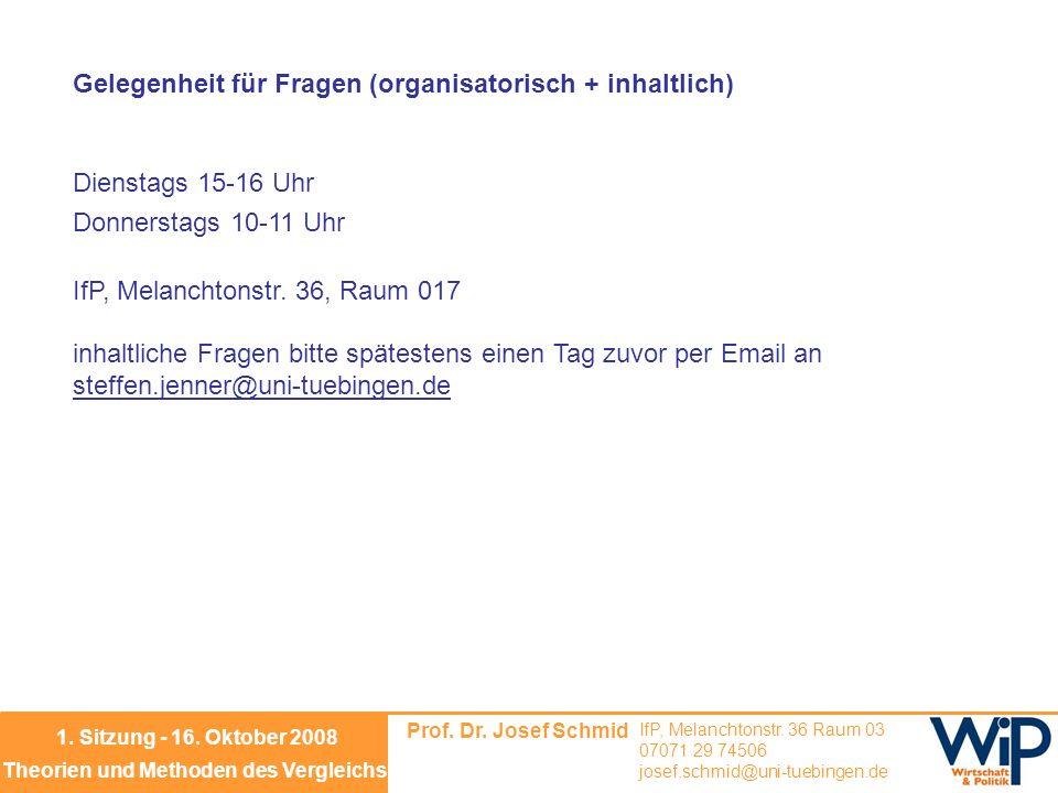 Prof. Dr. Josef Schmid IfP, Melanchtonstr. 36 Raum 03 07071 29 74506 josef.schmid@uni-tuebingen.de Theorien und Methoden des Vergleichs 1. Sitzung - 1
