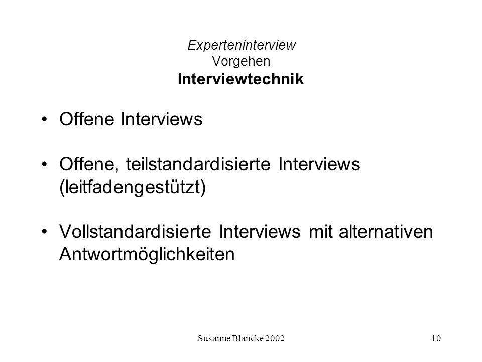 Susanne Blancke 200210 Experteninterview Vorgehen Interviewtechnik Offene Interviews Offene, teilstandardisierte Interviews (leitfadengestützt) Vollst
