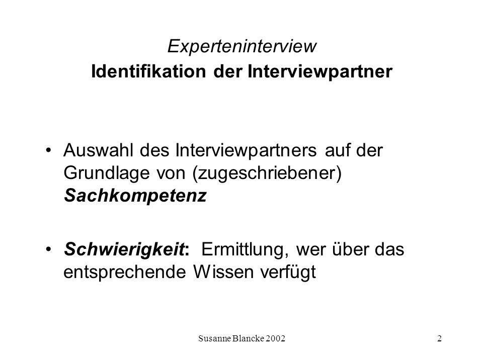 Susanne Blancke 20023 Experteninterview Identifikation der Interviewpartner Reputations- technik Entscheidungs- technik Positions- technik Drei Auswahltechniken