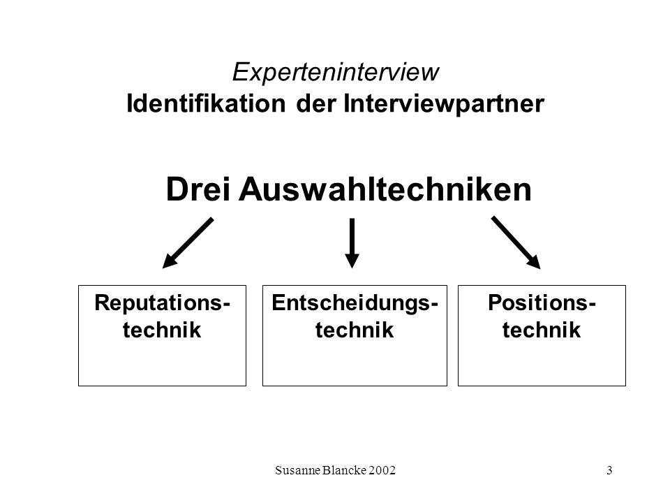 Susanne Blancke 20023 Experteninterview Identifikation der Interviewpartner Reputations- technik Entscheidungs- technik Positions- technik Drei Auswah