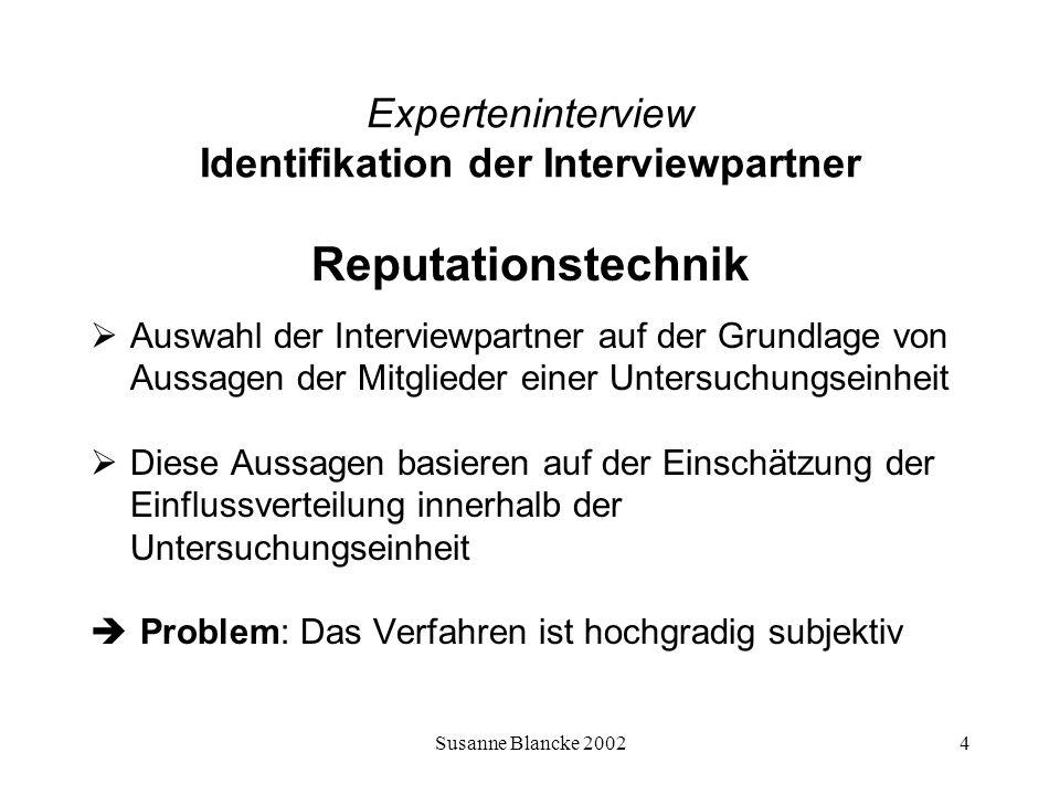 Susanne Blancke 20025 Experteninterview Identifikation der Interviewpartner Entscheidungstechnik Die Entscheidungstechnik wählt die Interviewpartner nach ihrer Beteiligung am Entscheidungsverfahren (auch im Vorfeld dessen) aus