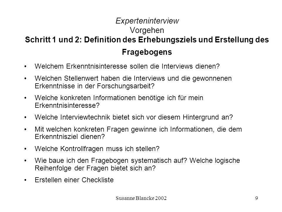 Susanne Blancke 200210 Experteninterview Vorgehen Interviewtechnik Offene Interviews Offene, teilstandardisierte Interviews (leitfadengestützt) Vollstandardisierte Interviews mit alternativen Antwortmöglichkeiten