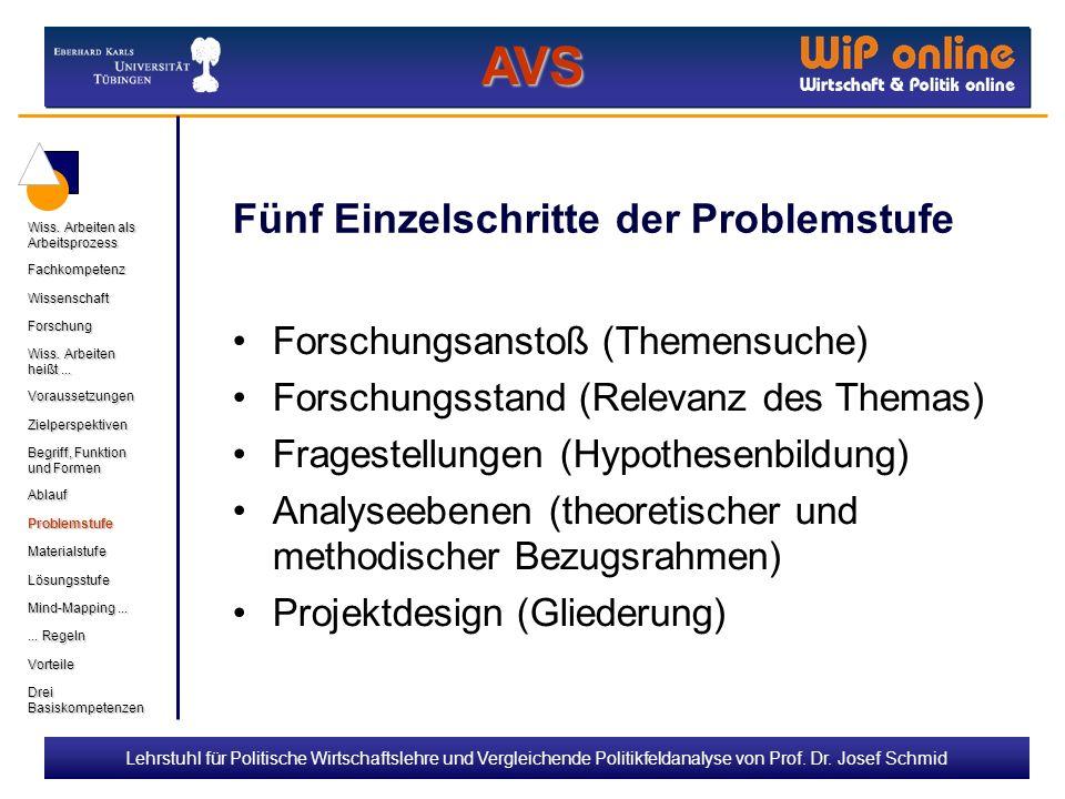 Lehrstuhl für Politische Wirtschaftslehre und Vergleichende Politikfeldanalyse von Prof. Dr. Josef Schmid Fünf Einzelschritte der Problemstufe Forschu