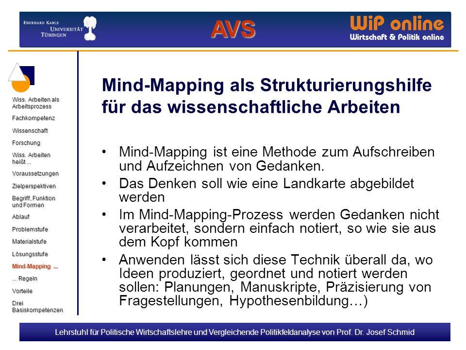 Lehrstuhl für Politische Wirtschaftslehre und Vergleichende Politikfeldanalyse von Prof. Dr. Josef Schmid Mind-Mapping als Strukturierungshilfe für da
