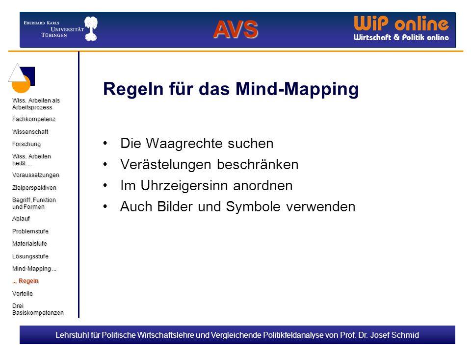 Lehrstuhl für Politische Wirtschaftslehre und Vergleichende Politikfeldanalyse von Prof. Dr. Josef Schmid Regeln für das Mind-Mapping Die Waagrechte s