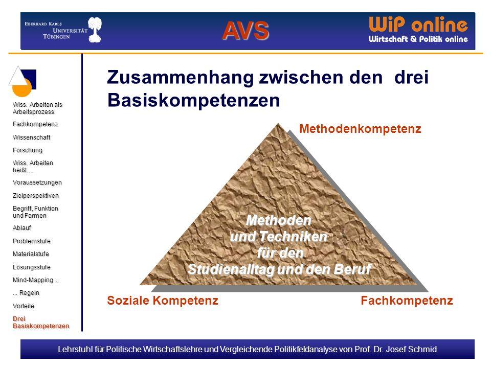 Lehrstuhl für Politische Wirtschaftslehre und Vergleichende Politikfeldanalyse von Prof. Dr. Josef Schmid Zusammenhang zwischen den drei Basiskompeten