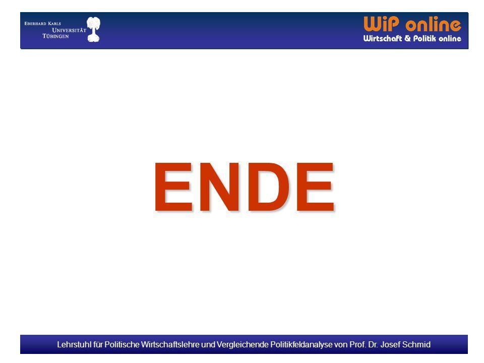 Lehrstuhl für Politische Wirtschaftslehre und Vergleichende Politikfeldanalyse von Prof. Dr. Josef Schmid ENDE