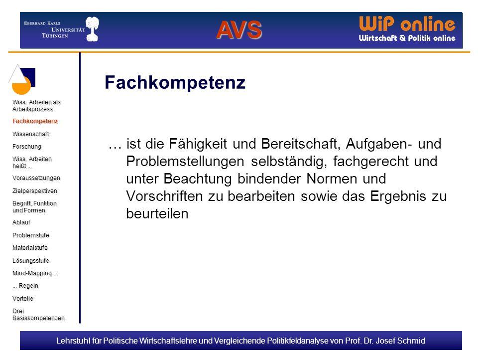 Lehrstuhl für Politische Wirtschaftslehre und Vergleichende Politikfeldanalyse von Prof. Dr. Josef Schmid Fachkompetenz … ist die Fähigkeit und Bereit