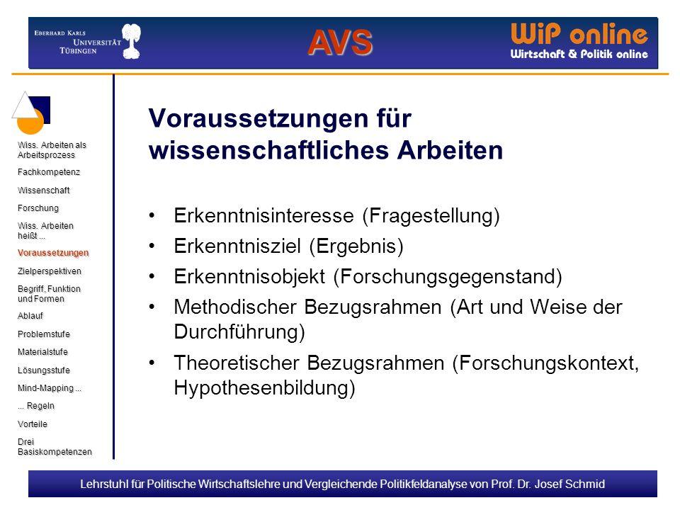 Lehrstuhl für Politische Wirtschaftslehre und Vergleichende Politikfeldanalyse von Prof. Dr. Josef Schmid Voraussetzungen für wissenschaftliches Arbei