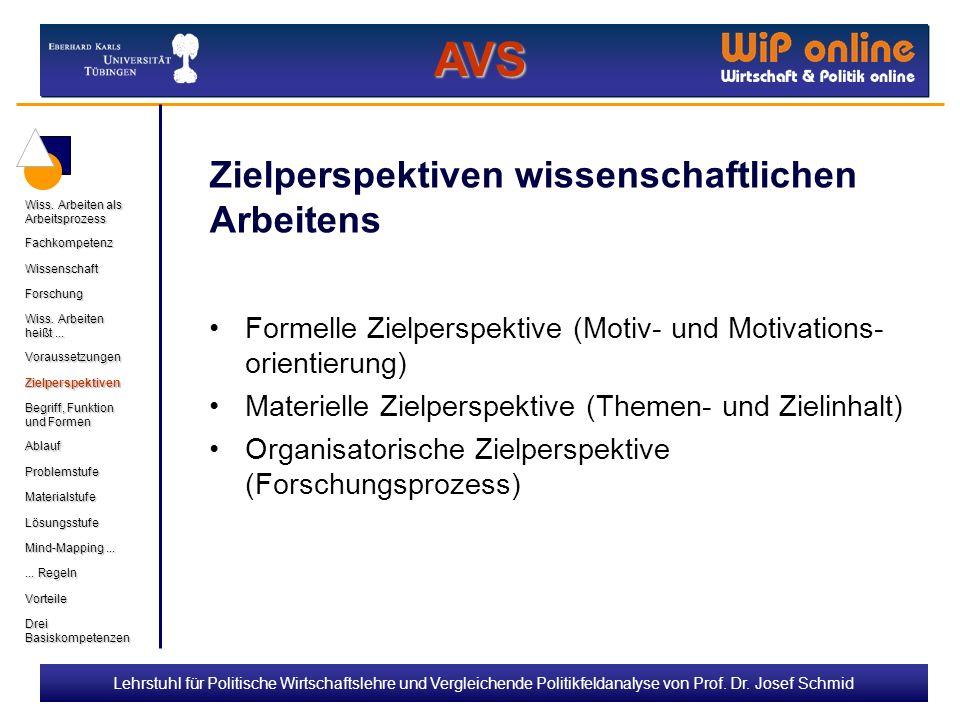 Lehrstuhl für Politische Wirtschaftslehre und Vergleichende Politikfeldanalyse von Prof. Dr. Josef Schmid Zielperspektiven wissenschaftlichen Arbeiten