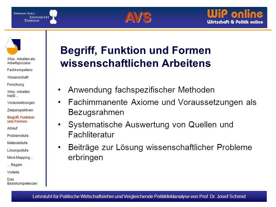 Lehrstuhl für Politische Wirtschaftslehre und Vergleichende Politikfeldanalyse von Prof. Dr. Josef Schmid Begriff, Funktion und Formen wissenschaftlic