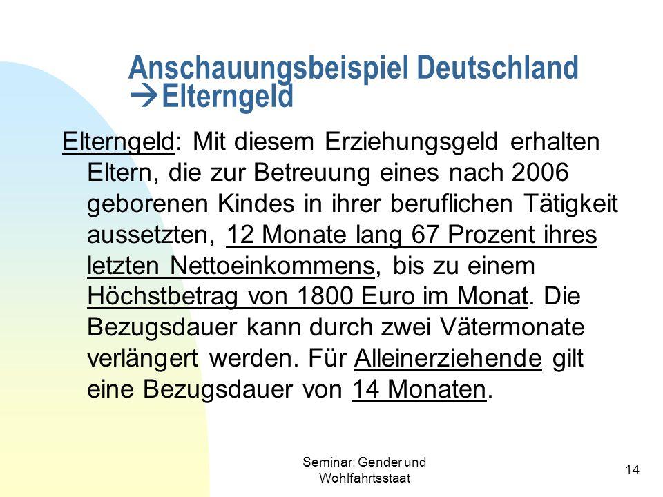 Seminar: Gender und Wohlfahrtsstaat 14 Anschauungsbeispiel Deutschland Elterngeld Elterngeld: Mit diesem Erziehungsgeld erhalten Eltern, die zur Betre