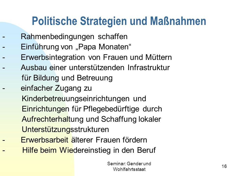 Seminar: Gender und Wohlfahrtsstaat 16 Politische Strategien und Maßnahmen - Rahmenbedingungen schaffen - Einführung von Papa Monaten - Erwerbsintegra
