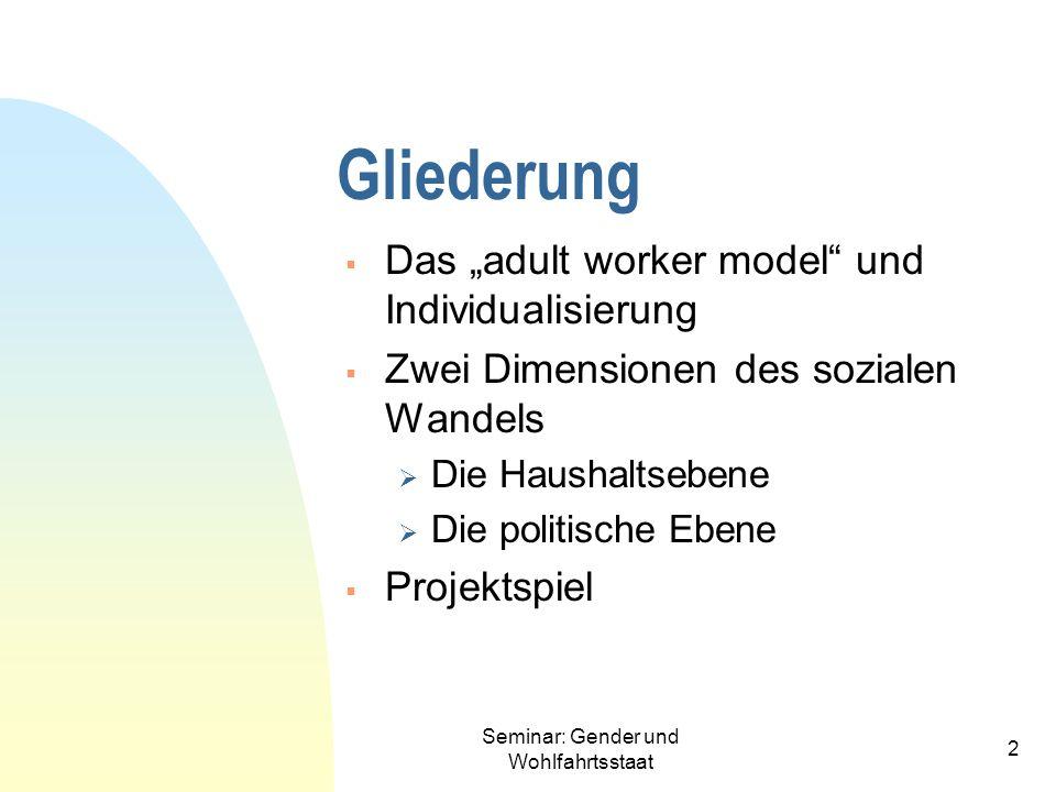 Seminar: Gender und Wohlfahrtsstaat 2 Gliederung Das adult worker model und Individualisierung Zwei Dimensionen des sozialen Wandels Die Haushaltseben