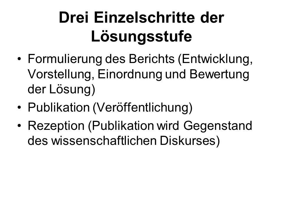 Drei Einzelschritte der Lösungsstufe Formulierung des Berichts (Entwicklung, Vorstellung, Einordnung und Bewertung der Lösung) Publikation (Veröffentl