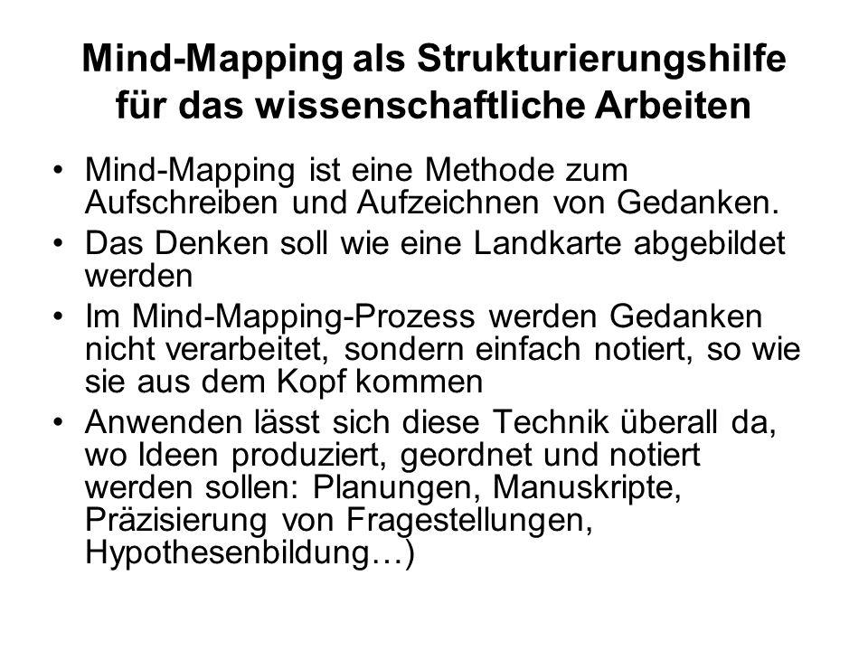 Mind-Mapping als Strukturierungshilfe für das wissenschaftliche Arbeiten Mind-Mapping ist eine Methode zum Aufschreiben und Aufzeichnen von Gedanken.