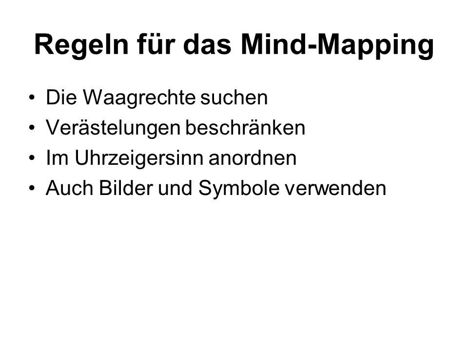 Regeln für das Mind-Mapping Die Waagrechte suchen Verästelungen beschränken Im Uhrzeigersinn anordnen Auch Bilder und Symbole verwenden