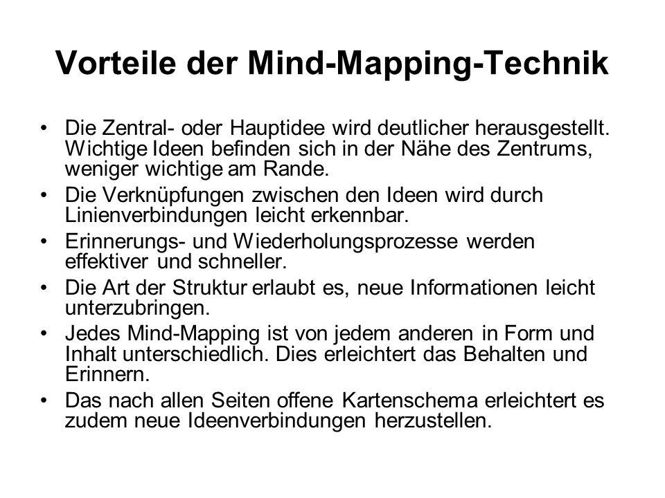 Vorteile der Mind-Mapping-Technik Die Zentral- oder Hauptidee wird deutlicher herausgestellt. Wichtige Ideen befinden sich in der Nähe des Zentrums, w
